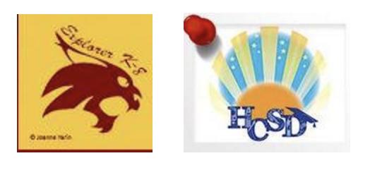 Explorer k-8 and HCSD school logos